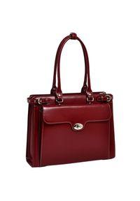 """MCKLEIN - Skórzana torba damska na laptopa 15,4"""" Mcklein Winnetka 94836 czerwona. Kolor: czerwony. Wzór: aplikacja. Sezon: lato. Materiał: skórzane. Styl: biznesowy, klasyczny, elegancki. Rodzaj torebki: na ramię"""
