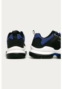 Czarne sneakersy Armani Exchange z cholewką, na sznurówki, z okrągłym noskiem