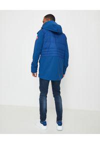CANADA GOOSE - Niebieska kurtka Breton. Typ kołnierza: kaptur. Kolor: niebieski. Wzór: paski, aplikacja