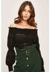 Czarna bluzka ANSWEAR raglanowy rękaw, długa, elegancka, z dekoltem typu hiszpanka