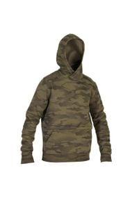 SOLOGNAC - Bluza myśliwska z kapturem 500 Camo Halftone. Typ kołnierza: kaptur. Kolor: zielony. Materiał: elastan, poliester, materiał, bawełna