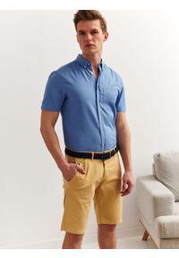 Niebieska koszula TOP SECRET casualowa, z krótkim rękawem
