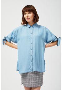 MOODO - Koszula lyocell z marszczonymi rękawami. Materiał: lyocell. Długość rękawa: krótki rękaw. Długość: krótkie. Wzór: gładki