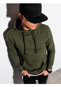 Ombre Clothing - Bluza męska z kapturem B1224 - khaki - XXL. Typ kołnierza: kaptur. Kolor: brązowy. Materiał: bawełna, poliester