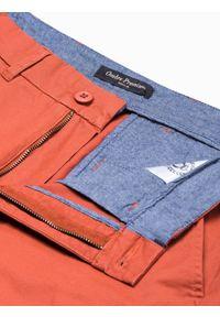Ombre Clothing - Krótkie spodenki męskie casual W243 - ceglaste - XXL. Okazja: na co dzień. Kolor: czerwony. Materiał: elastan, bawełna. Długość: krótkie. Sezon: lato. Styl: casual