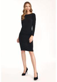 Nife - Dopasowana Sukienka z wycięciem na Plecach - Czarna. Kolor: czarny. Materiał: elastan