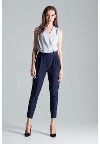 Niebieskie spodnie z wysokim stanem Figl eleganckie