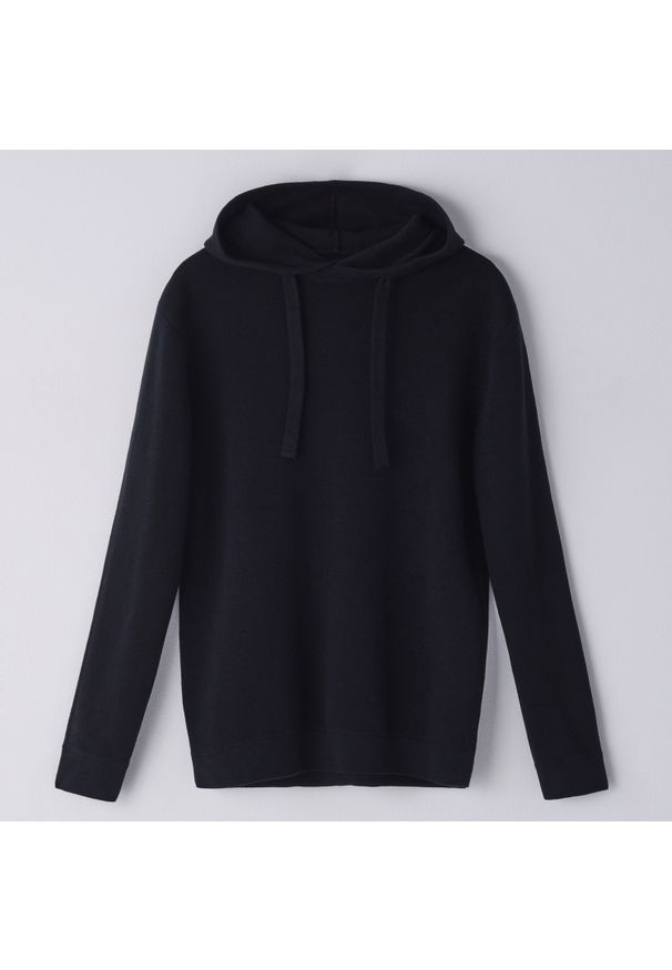 Czarny sweter Cropp z kapturem