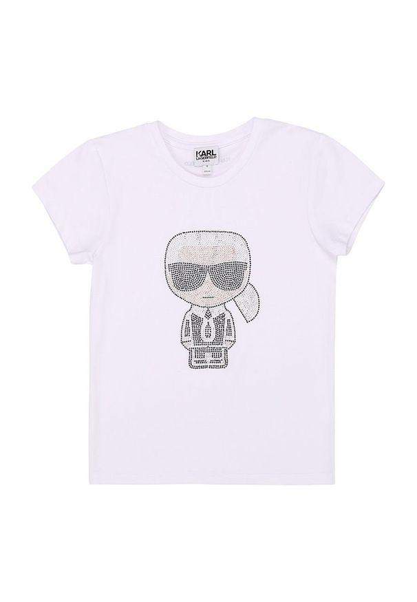 Biała bluzka z krótkim rękawem Karl Lagerfeld casualowa, z okrągłym kołnierzem