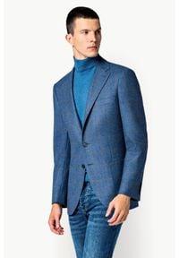 Lancerto - Marynarka Niebieska w Kratę Adaria. Typ kołnierza: golf. Kolor: niebieski. Materiał: tkanina, wełna, bawełna. Sezon: zima, jesień