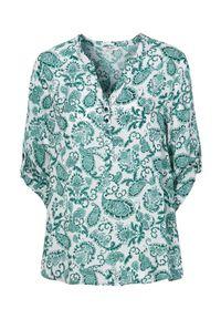 Cellbes Wzorzysta bluzka z wiskozy zielony we wzory female zielony/ze wzorem 42/44. Typ kołnierza: dekolt w serek. Kolor: zielony. Materiał: wiskoza. Długość: krótkie