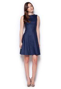 Figl - Granatowa Skromna Rozkloszowana Sukienka bez Rękawów. Kolor: niebieski. Materiał: wiskoza, nylon, elastan. Długość rękawa: bez rękawów