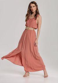 Renee - Łososiowa Sukienka Loraeshell. Kolor: różowy. Długość rękawa: na ramiączkach. Długość: maxi