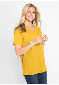 Długi shirt z dekoltem w szpic (5 sztuk), krótki rękaw bonprix żółty kanarkowy + kremowy miętowy + morelowy + czarny + biały. Kolor: żółty. Długość rękawa: krótki rękaw. Długość: krótkie #5