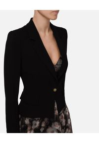 Elisabetta Franchi - ELISABETTA FRANCHI - Czarny żakiet ze złotym guzikiem. Kolor: czarny. Materiał: wiskoza. Długość rękawa: długi rękaw. Długość: długie. Styl: elegancki