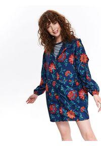 TOP SECRET - Oversizowa kurtka w kwiaty. Kolor: niebieski. Materiał: tkanina. Długość rękawa: krótki rękaw. Wzór: kwiaty. Sezon: lato, wiosna