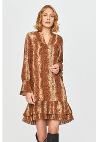 Brązowa sukienka Scotch & Soda mini, na co dzień, z długim rękawem, casualowa
