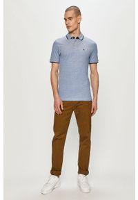 Niebieska koszulka polo Jack & Jones na co dzień, gładkie, polo