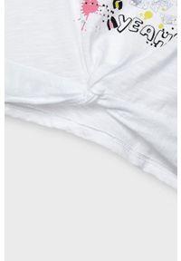 Biała bluzka z krótkim rękawem Mayoral na co dzień, casualowa, z nadrukiem