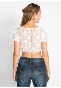 Bluzka koronkowa w ludowym stylu bonprix biały. Kolor: biały. Materiał: koronka