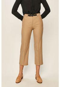 Brązowe spodnie materiałowe Stefanel z podwyższonym stanem