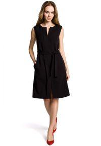 Czarna sukienka na imprezę MOE wizytowa, bez rękawów