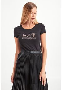 T-shirt EA7 Emporio Armani casualowy, w kolorowe wzory, na co dzień