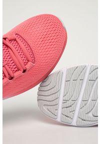Różowe buty sportowe Under Armour do biegania, na sznurówki, z cholewką