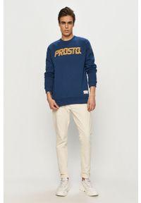 Niebieska bluza nierozpinana Prosto. na co dzień, casualowa, bez kaptura, z nadrukiem