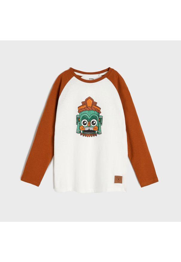 Sinsay - Koszulka z nadrukiem - Kremowy. Kolor: kremowy. Wzór: nadruk