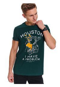 Zielony t-shirt TOP SECRET krótki, z krótkim rękawem, z nadrukiem