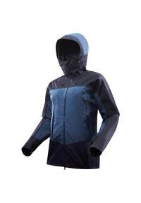 FORCLAZ - Kurtka trekkingowa męska Forclaz TREK 500 wodoodporna. Kolor: niebieski. Materiał: tkanina, materiał