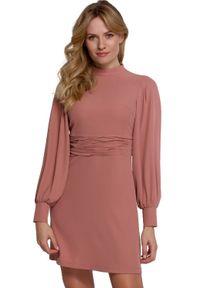 Makover - Elegancka sukienka mini z bufiastymi rękawami. Styl: elegancki. Długość: mini