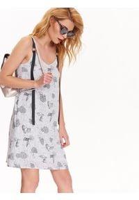 Szara sukienka TOP SECRET w kolorowe wzory, sportowa, prosta