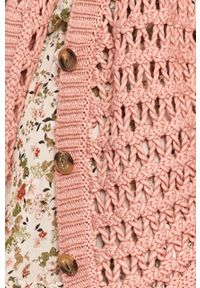 Różowy sweter rozpinany Answear Lab w ażurowe wzory, wakacyjny
