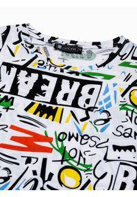 Ombre Clothing - T-shirt męski z nadrukiem S1410 - biały - XXL. Kolor: biały. Materiał: bawełna, dresówka, jeans, poliester. Długość: krótkie. Wzór: nadruk. Sezon: lato, wiosna