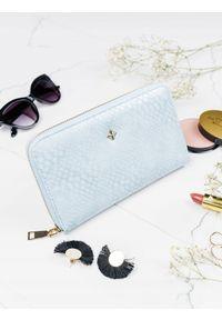 MILANO DESIGN - Pojemny portfel damski niebieski Milano Design. Kolor: niebieski. Materiał: skóra ekologiczna