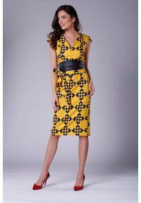 Nommo - Elegancka Ołówkowa Sukienka Midi z Zaznaczoną Talią. Materiał: wiskoza, poliester. Typ sukienki: ołówkowe. Styl: elegancki. Długość: midi