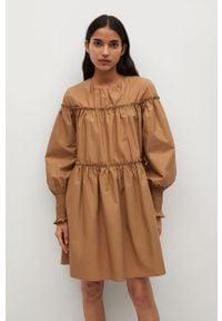 Brązowa sukienka mango casualowa, mini, gładkie