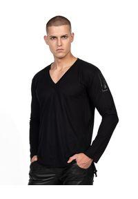 ROBERT KUPISZ - Czarny t-shirt ORIENT MONSHO LONGSLEEVE. Kolor: czarny. Materiał: bawełna. Długość rękawa: długi rękaw. Długość: długie. Wzór: nadruk. Styl: klasyczny