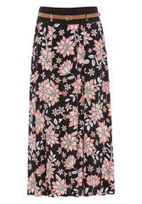 Czarna spódnica bonprix w kwiaty, długa