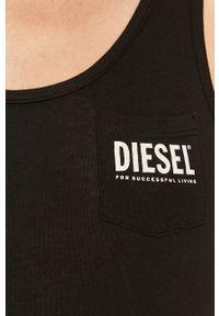 Czarny top Diesel na co dzień, casualowy, z nadrukiem, z okrągłym kołnierzem #6
