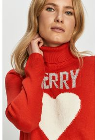 Czerwony sweter only z aplikacjami, z długim rękawem, na co dzień, z golfem