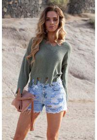 Oliwkowy sweter Fobya krótki
