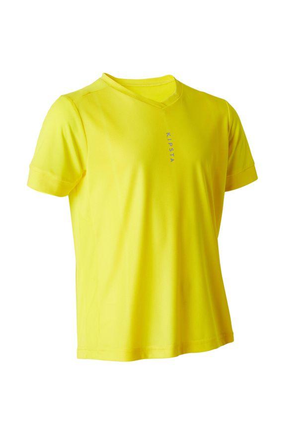KIPSTA - Koszulka do piłki nożnej z krótkim rękawem F500 dla dzieci. Typ kołnierza: dekolt w kształcie V. Kolor: żółty. Materiał: materiał, poliester. Długość rękawa: krótki rękaw. Długość: krótkie. Sezon: lato. Sport: piłka nożna