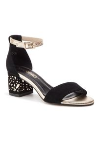 Czarne sandały Karino na obcasie, na średnim obcasie