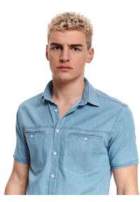 TOP SECRET - Koszula krótki rękaw męska shaped fit. Typ kołnierza: kołnierzyk klasyczny. Kolor: niebieski. Materiał: tkanina, bawełna. Długość rękawa: krótki rękaw. Długość: krótkie. Styl: klasyczny