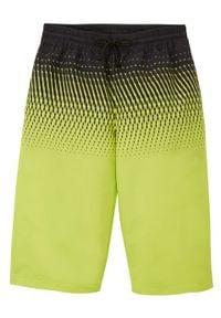 Bermudy chłopięce Regular Fit bonprix żółty neonowy. Kolor: żółty. Materiał: dresówka