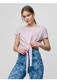 4f - Koszulka do jogi damska. Kolor: fioletowy. Materiał: dzianina. Sport: joga i pilates