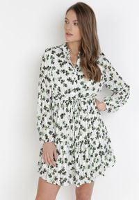 Born2be - Biało-Zielona Sukienka Ophiaxaura. Okazja: na co dzień. Kolor: biały. Materiał: tkanina. Długość rękawa: długi rękaw. Wzór: gładki, nadruk. Typ sukienki: proste. Styl: casual. Długość: mini